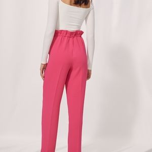 Wilfred Aritzia Pink High Waisted Paperbag Pants Career Work Lyocell